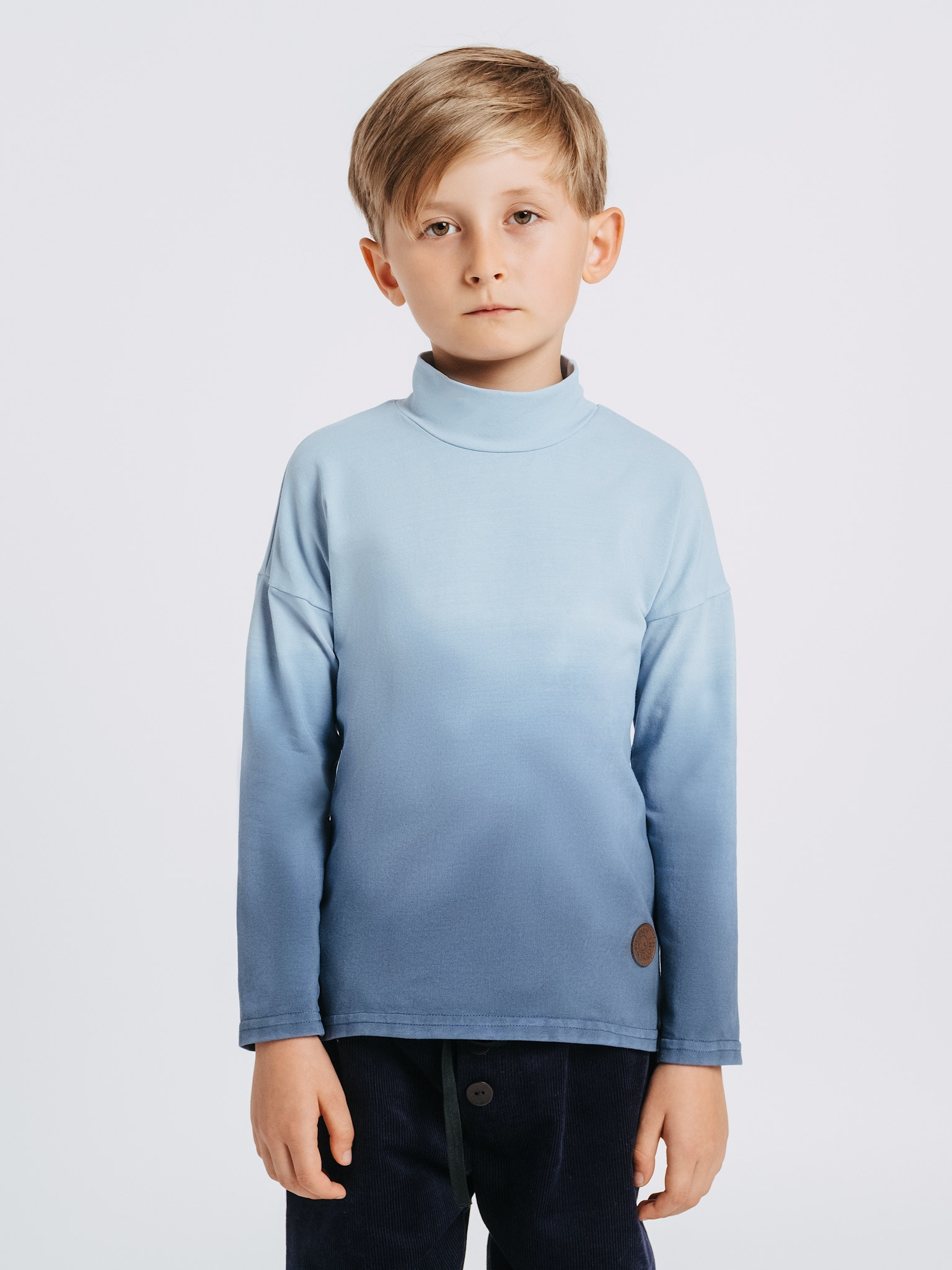f2c5dd33f Hand-dyed cotton polo neck jumper. Soft to touch and elastic
